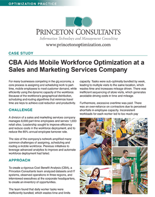 CBA Aids Mobile Workforce Optimization at a Sales and Marketing Services Company