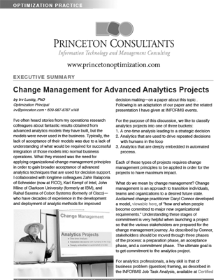 Change Management for Advanced Analytics Projects