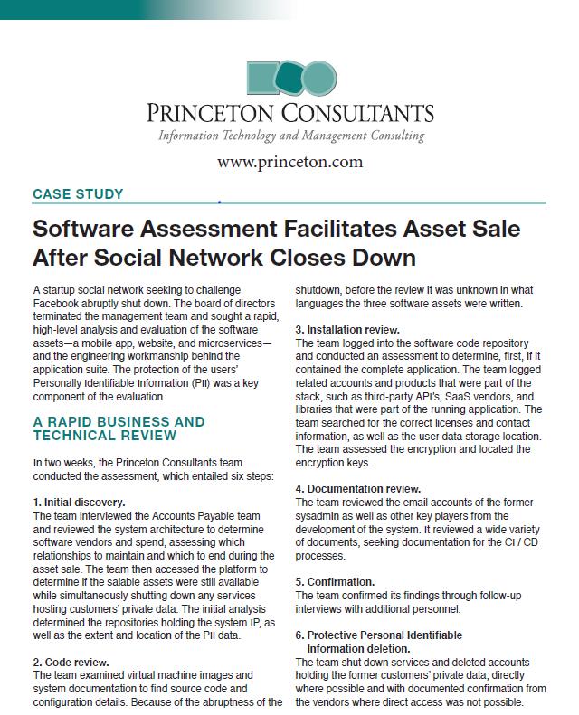 Software Assessment Facilitates Asset Sale After Social Network Closes Down