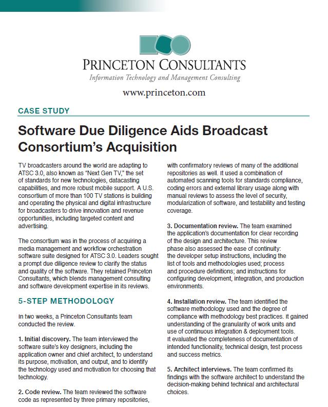 Software Due Diligence Aids Broadcast Consortium's Acquisition